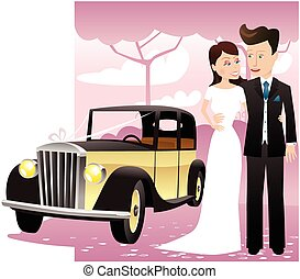 Wedding couple with classic car.eps