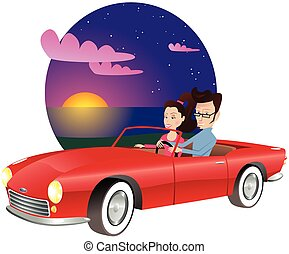 Couple in sports car at sunset.eps