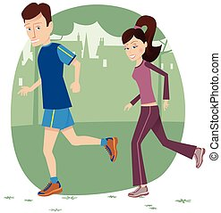 Jogging couple in park.eps