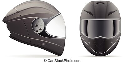 High Quality Light Gray Motorcycle Helmet. Front And Side...