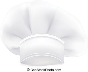 Photorealistic White Chef Or Cook Or Bakers Hat Isolated On A White Background. Vector Illustration