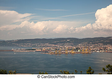 Top view of Trieste from old town of Muggia