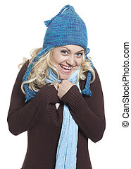 Blonde Girl in Hat Freezing - Blonde woman wearing winter...