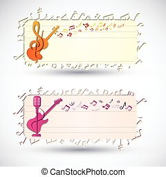 Two Colorful Music Banner Set - Two colorful music banners...