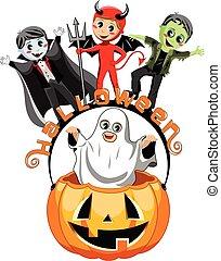 Happy kids costume halloween pumpkin bucket isolated - Happy...