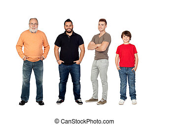 Three generations of men - Four generations of men isolated...