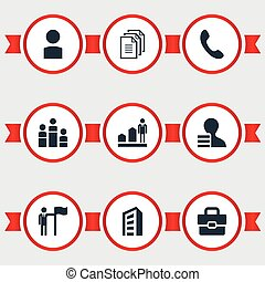 Vector Illustration Set Of Simple Hr Icons. Elements Personal, Door, Account And Other Synonyms Career, Portfolio And Leader.