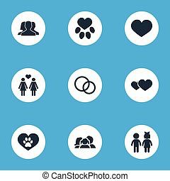 Vector Illustration Set Of Simple Love Icons. Elements Love, Romance, Footprint And Other Synonyms Romantic, Love And Care.