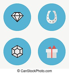 Vector Illustration Set Of Simple Achievement Icons. Elements Brilliant, Present, Metal And Other Synonyms Horseshoe, Surprise And Precious.