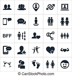 Vector Illustration Set Of Simple Buddies Icons. Elements...