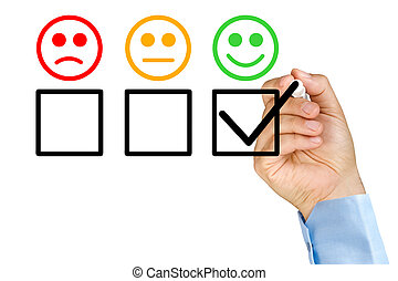 Hand putting check on customer service evaluation form