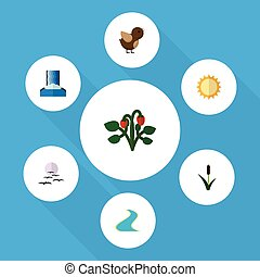 Flat Icon Ecology Set Of Bird, Solar, Cattail And Other...