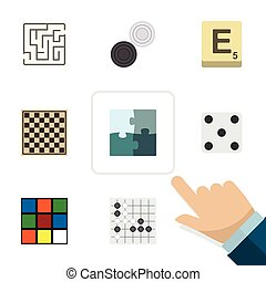 Flat Icon Games Set Of Labyrinth, Chequer, Mahjong And Other...