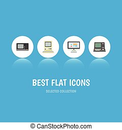 Flat Icon Computer Set Of Technology, Vintage Hardware, Computing And Other Vector Objects. Also Includes Screen, Monitor, Vintage Elements.
