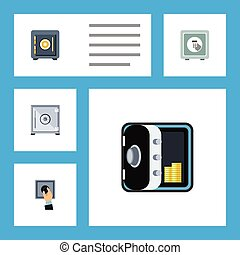 Flat Icon Safe Set Of Saving, Safe, Banking And Other Vector Objects. Also Includes Protection, Locked, Closed Elements.