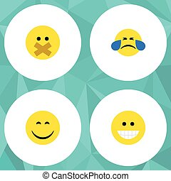 Flat Icon Face Set Of Grin, Cold Sweat, Smile And Other Vector Objects. Also Includes Laugh, Face, Silent Elements.