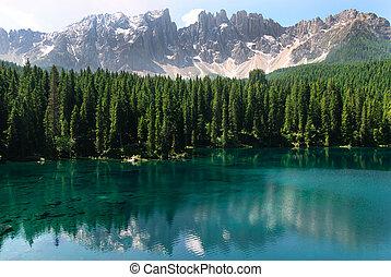 Lake Carezza - Rosengarten reflected in Karersee lake