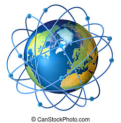 Planet Earth with satellites on orbit