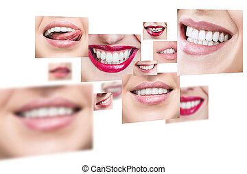 Collage of healthy smiling people.