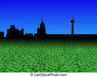 San Antonio skyline with abstract dollar currency foreground...