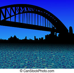 Sydney skyline with abstract dollar currency foreground illustration