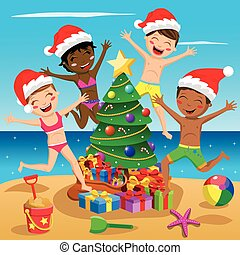 Happy Multicultural Kids swimsuit xmas hat jumping tree tropical beach