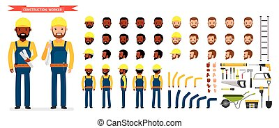 Construction worker Character creation set. Male worker in...