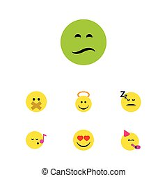 Flat Icon Emoji Set Of Party Time Emoticon, Angel, Love And Other Vector Objects. Also Includes Hush, Heart, Angel Elements.