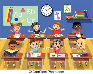 Happy kids children sitting desk classroom school - Happy...