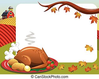 Thanksgiving day horizontal frame roast turkey countryside