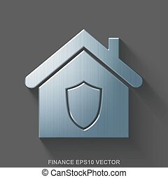Flat metallic finance 3D icon. Polished Steel Home on Gray background. EPS 10, vector.