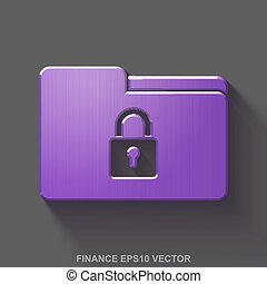 Flat metallic business 3D icon. Purple Glossy Metal Folder With Lock on Gray background. EPS 10, vector.
