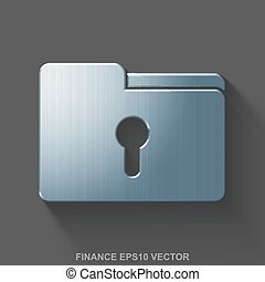 Flat metallic business 3D icon. Polished Steel Folder With Keyhole on Gray background. EPS 10, vector.