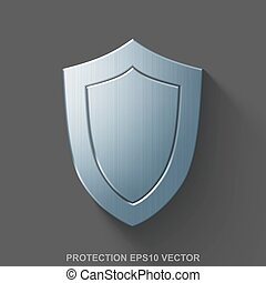 Flat metallic safety 3D icon. Polished Steel Shield on Gray background. EPS 10, vector.