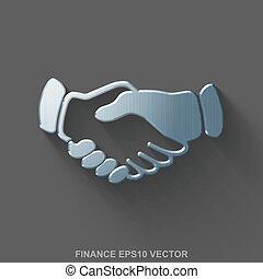 Flat metallic finance 3D icon. Polished Steel Handshake on Gray background. EPS 10, vector.