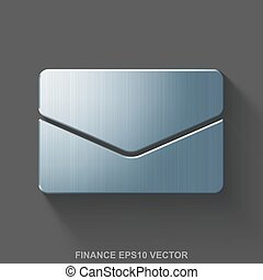 Flat metallic finance 3D icon. Polished Steel Email on Gray background. EPS 10, vector.