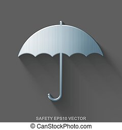 Flat metallic safety 3D icon. Polished Steel Umbrella on Gray background. EPS 10, vector.