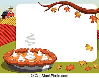 Thanksgiving day horizontal frame Pumpkin Pie countryside