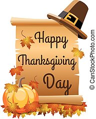 Happy thanksgiving day on scroll or parchment isolated