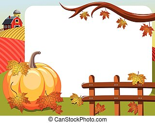 Thanksgiving day horizontal frame big pumpkin countryside