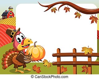 Thanksgiving day horizontal frame pilgrim turkey pumpkin