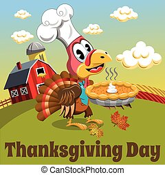 Thanksgiving day background square pilgrim turkey traditional pie countryside