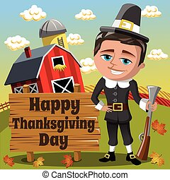 Thanksgiving day background square pilgrim man hunter rifle countryside
