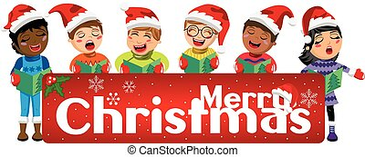 Multicultural kids wearing xmas hat and singing Christmas carol behind banner isolated