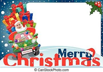 Christmas frame santa claus driving car gifts xmas night