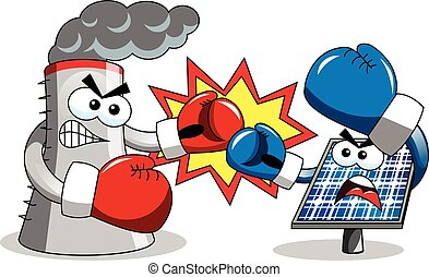 Cooling tower photovoltaic panel fighting boxing isolated
