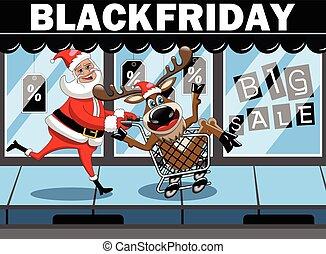 Santa Claus shopping running pushing cart reindeer black friday sale