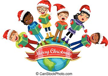 Multicultural kids wearing xmas hat singing Christmas carol Earth isolated