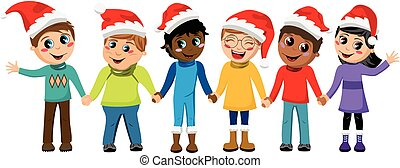 Multicultural kids xmas hat hand in hand isolated