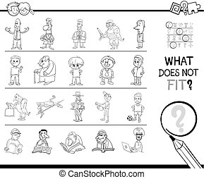 mismatched picture in a row coloring page - Black and White...